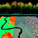 LiDAR point cloud colored by elevation and true color imagery